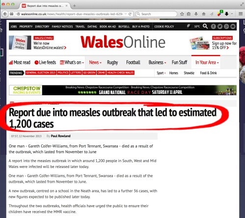 Ambigious/incorrect figures as given by Walesonline