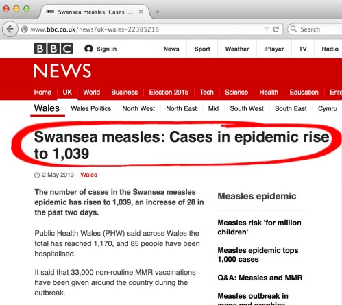 Ambigious measles case numbers given by BBC Wales