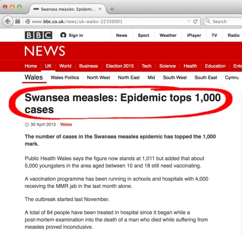 More ambigious and potentially misleading measles figures by BBC Wales
