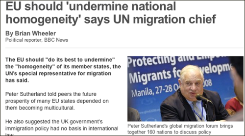 UN Special Representative Peter Sutherland explains the criminal UN plan for Europe